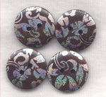 Silver and Brown Buttons Holographic Design Wooden Buttons 20mm (3/4 inch) Set of 8 /BT401