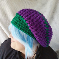 Slouch hat Purple Green Crocheted Puff Beannie Wool Toque cap Knit cloche CT0015