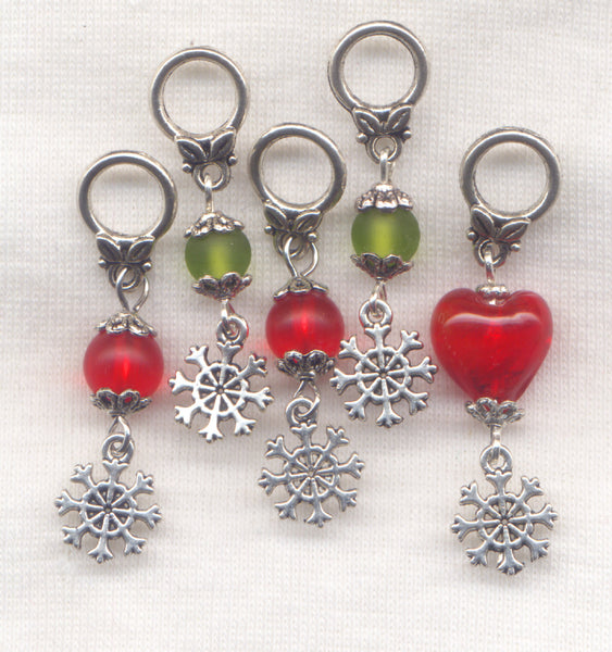 Christmas Tree Ornament Knitting Stitch Markers Xmas Set of 5 /SM247Z