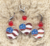 American Flag Stitch Marker Clip Heart Old Glory Star Spangled Banner Single /SM36A