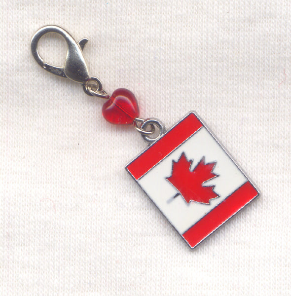 Canadian Flag Stitch Marker Clip Heart O Canada Canuck Banner Single /SM36B