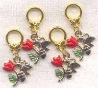Honey Bee Knitting Stitch Markers Bees Roses Bumblebee Set of 4 /SM27B