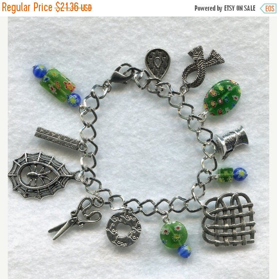 Weaver's Charm Bracelet Green Love to Weave  /BR07