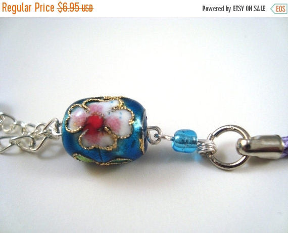 Blue Flower Cloisonne Cellphone Charm CH021