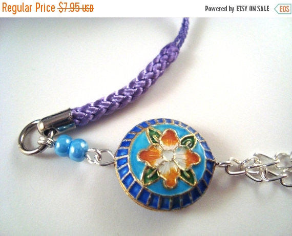 Blue Flower Cloisonne Cellphone Charm CH003