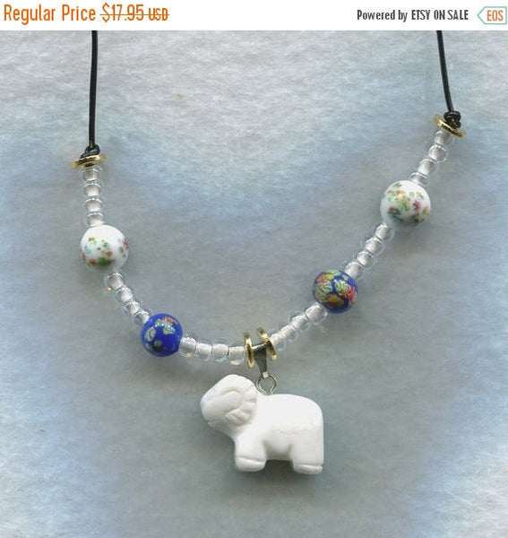 SALE Ram Pendant Necklace White Stone Ram Sheep Goat Billy /PD38