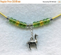 SALE Llama Pendant Necklace Yellow Beads Alpaca Vicuna Pacovicuna  /PD002