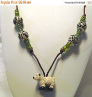 SALE White Sheep Necklace Handpainted Peruvian Beads Brown Cord  /N28