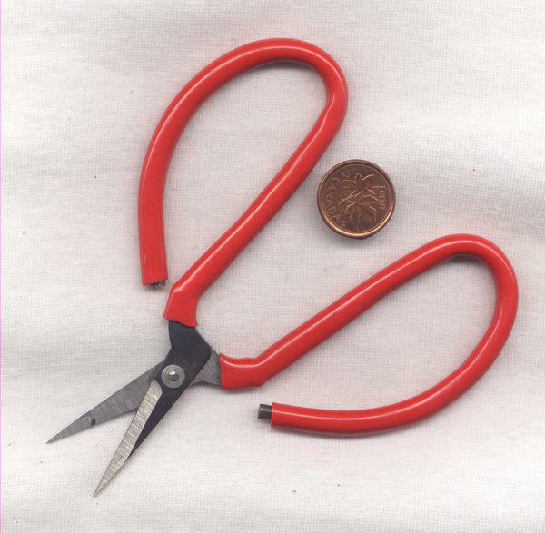 Needlework Scissors Sturdy Metal With Red Rubber Grip 1 Pair