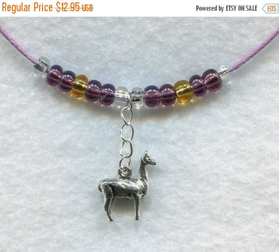 SALE Llama Pendant Necklace with Czech Glass Beads Alpaca  /PD003