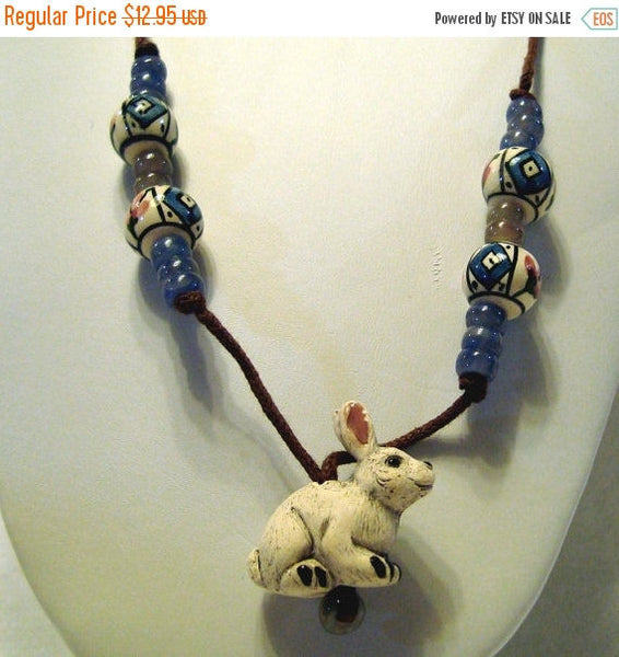 Rabbit Cord Necklace with Handpainted Peruvian Beads Angora Bunny /N27