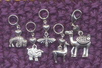 Fiber Animals Knitting Stitch Markers Camel Alpaca Silk Sheep Bison Love to Spin Set of 5/SM120