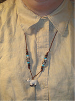 SALE Sheep Pendant Handpainted Peruvian Ceramic Beads Necklace /N31
