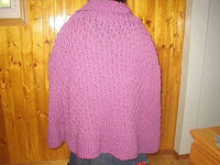Knit Cape Plum Textured Thick Plush Hand Knit Wool Blend Warm One of a Kind