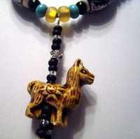 Llama Pendant Necklace Hand Painted Peruvian Beads Alpaca Vicuna /PD005