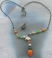SALE Rabbit Carrot Pendant Necklace with Czech Glass Beads Angora Bunny Rabbits /PD36
