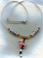 SALE Llama Pendant Necklace with Handpainted Peruvian Ceramic Beads Alpaca Pendant  /PD41
