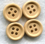 Natural Wood Buttons Decorated Wooden Buttons 15mm (5/8 inch) Set of 8 /BT56