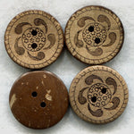 Coconut Wood Buttons Decorated Wooden Buttons 23mm (1 inch) Set of 8/BT85