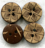 Coconut Wood Buttons Decorated Wooden Buttons 15mm (5/8 inch) Set of 8 /BT89
