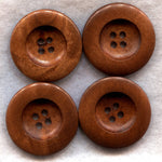 Rusty Brown Wood Buttons Wooden Buttons 37mm (1 1/2 inch) Set of 8 /BT205