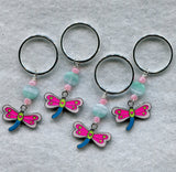Dragonfly Knitting Stitch Markers Rings for Bulky Knits Set of 4 /SM34