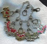 Stitch Marker Holder Keeper With Claw Clasp LARGE Silver Clip Each