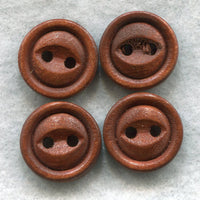 Rusty Brown Buttons  Wooden Buttons 15mm (5/8 inch) Set of 8 /BT236