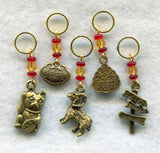 Chinese New Year Knitting Stitch Markers Fortune Cat Maneki Neko Set of 5/SM152