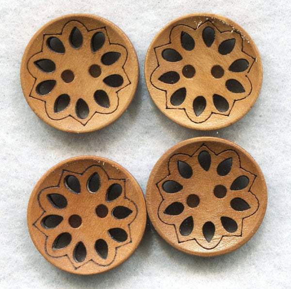 Lacy Cut Buttons Light Brown Floral Wooden Buttons 24mm (7/8 inch) Set of 8 /BT247A