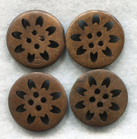 Lacy Cut Buttons Dark Chocolate Brown Floral Wooden Buttons 24mm (1 inch) Set of 8 /BT246