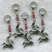 Pegasus Knitting Stitch Markers Mythical Magical Creatures Set of 5 /SM155