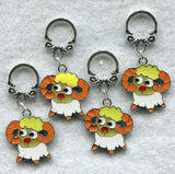 Merino Sheep Knitting Stitch Markers Enameled Set of 4/SM48C