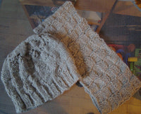 Hat and Cowl Set Unisex Hand Knit Handknit One Size Virgin Wool Oatmeal Color