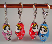 Troika Doll Stitch Markers Nesting Dolls Baba Babushka Set of 4/SM160