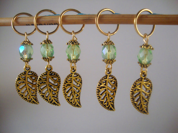 Leaves Knitting Stitch Markers Green Faceted Gold Leaf Set of 5/SM70B
