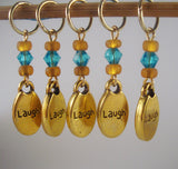 Laugh Knitting Stitch Markers Happy Inspirational Words Gold tone Set of 5/SM168