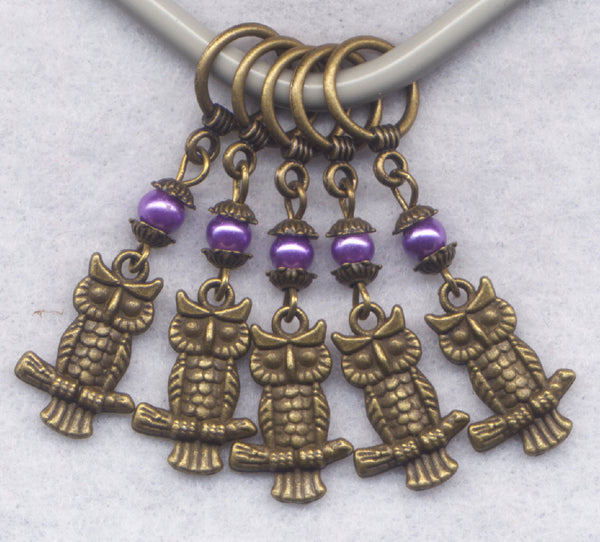 Owl Knitting Stitch Markers Bronze Owls with Purple Pearls Set of 5 /SM47A