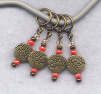 Lucky Coin Knitting Stitch Markers Bronze Medallions Set of 4 /SM172