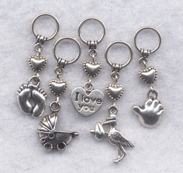 New Baby Knitting Stitch Markers Newborn Babies  Set of 5/SM175