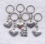 Newlywed Knitting Stitch Markers Love Just Married Husband Wife Set of 6/SM174