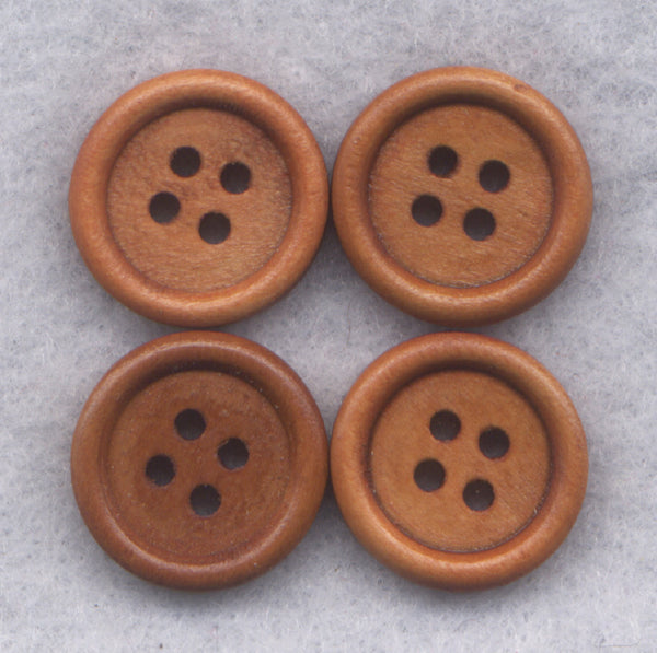Rusty Brown Wood Buttons Sturdy Wooden Buttons 15mm (5/8 inch) Set of 8/BT29