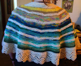 Ocean Sunrise Shawl Hand Knit Semi Circle One Size Virgin Wool