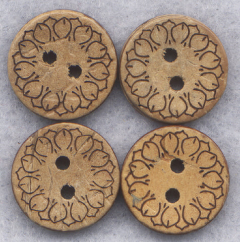 Coconut Wood Buttons Flower Decorated Wooden Buttons 15mm (5/8 inch) Set of 8 /BT255