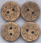 Coconut Wood Buttons Flower Decorated Wooden Buttons 15mm (5/8 inch) Set of 8/BT261