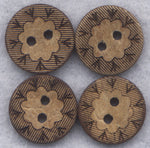 Coconut Wood Buttons Flower Decorated Wooden Buttons 15mm (5/8 inch) Set of 8 /BT258