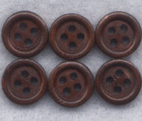 Brown Buttons Wood Simple Wooden Buttons 10 mm (3/8 inch) Set of 12/BT264