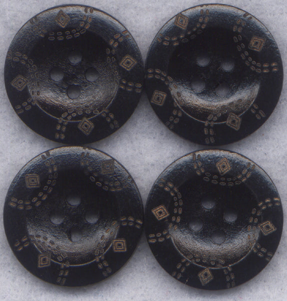 Dark Chocolate Brown Buttons Simple Classic Wooden Buttons 22mm (7/8 inch) Set of 8 /BT273
