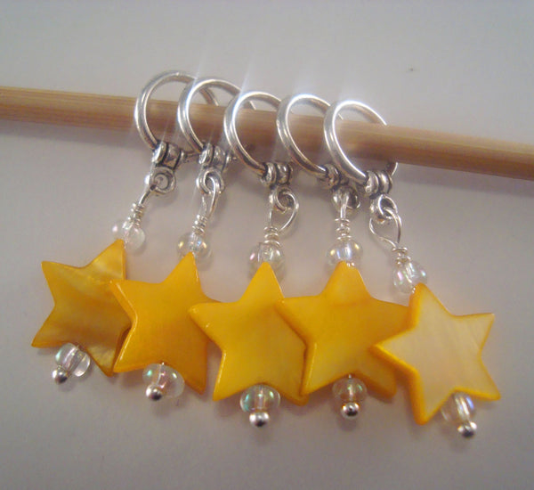 Star Knitting Stitch Markers Mother of Pearl Shell Twinkle Set of 5/SM181