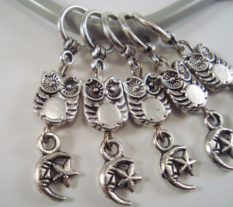 Owl and Moon Knitting Stitch Markers Midnight Owls Moon Stars Set of 5/SM186